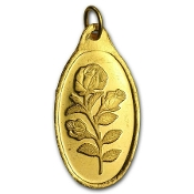 HALF Ounce Oval Gold Bar Rose with Pendent,15.55 gram 24 Carat (999.9 Fine Gold), HALF Ounce Gold Bar, HALF Ounce Oval Gold Bar with PENDANT, HALF Ounce PAMP SUISSE Fortuna, HALF Ounce Oval Gold Bar with PENDANT, HALF Ounce Oval Gold Bar,